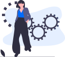 illustration of a woman and behind her there are gears
